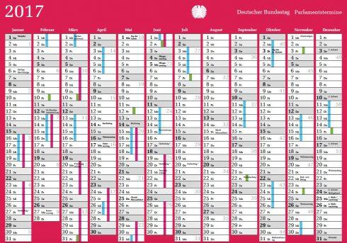 Sitzungswochen des Deutschen Bundestages sind im Kalender pink eingefärbt.